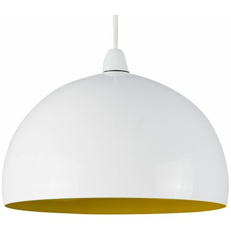 Metal Dome Ceiling Pendant Light Shade - White & Yellow
