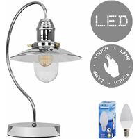 Modern Metal & Glass Fisherman's Vintage Lantern Bedside Touch Table Lamp - 5w LED Dimmable Candle Bulb