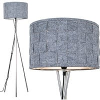 Modern Metal Tripod Floor Lamp with a Cotton Shade
