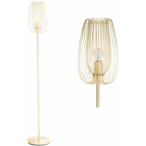 Modern Metal Wire Floor Light Standard Lamp Copper or Brushed Gold Satin Brass