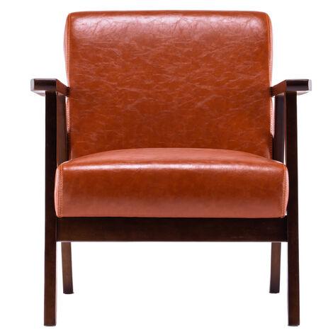 "main image of ""Modern minimalist armchair wooden leisure PU single sofa bedroom living room - Brown"""