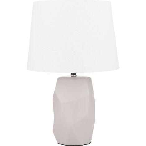 Modern Minimalist Pink Side Table Lamp Ceramic Cone Shade White Elia