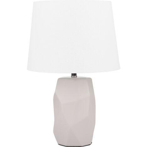 Modern Minimalist Pink Side Table Lamp Ceramic White Cone Shade Elia