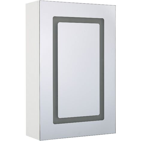 Modern Minimalist Wall Mirror Cabinet with LED Storage Cupboard White Condor