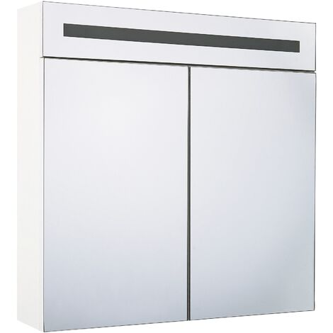 Modern Minimalist Wall Mirror Cabinet with LED Storage Cupboard White Jaramillo
