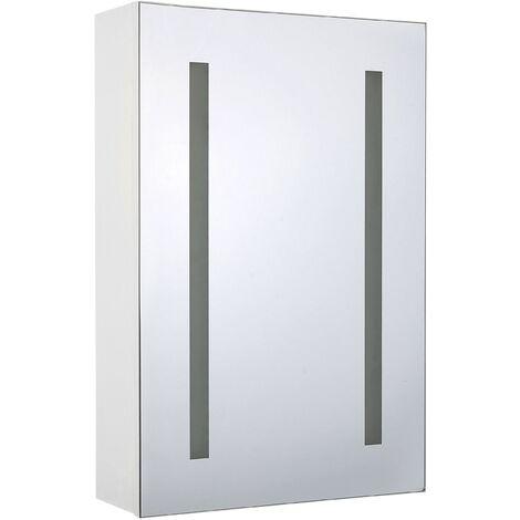 Modern Minimalist Wall Mirror Cabinet with LED White Storage Cupboard Cameron