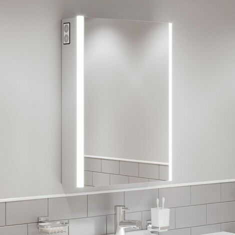Modern Mirror Cabinet LED Illuminated Wall Mounted Bluetooth IP44 500 x 700mm