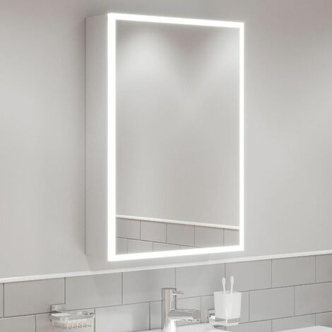 Modern Mirror Cabinet LED Illuminated Wall Mounted Shaver Socket IP44 500x700mm
