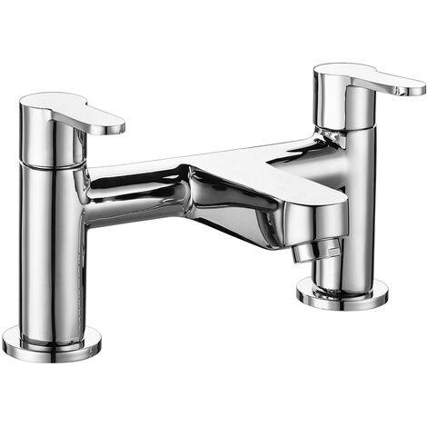 Modern Mixer Bath Tap Zinc Twin Lever Chrome Finish Hot Cold Bathroom Filler