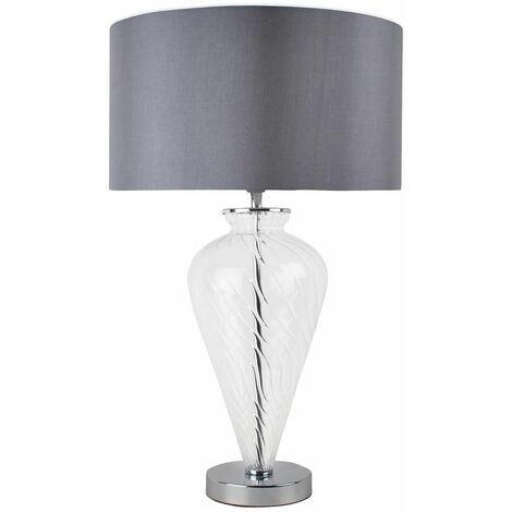Modern Mocha Clear Glass Bedside Table Lamp Light Fabric Shade Lounge or Bedroom