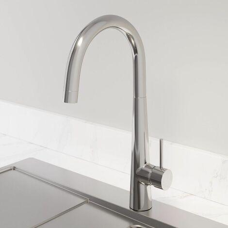 Modern Mono Kitchen Mixer Tap Single Lever Curved Swivel Spout Chrome Faucet