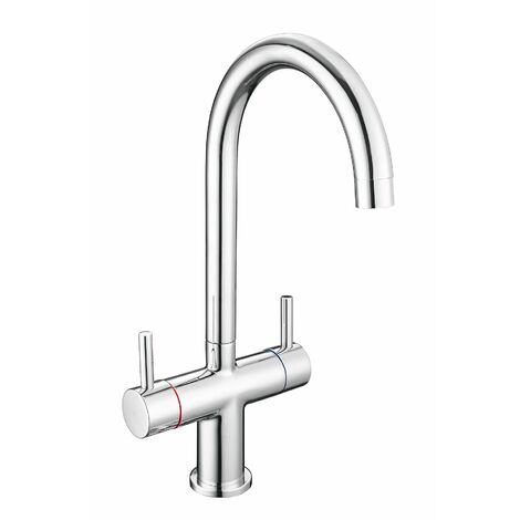 """main image of """"Modern Mono Kitchen Mixer Tap Twin Lever Control Swivel Curved Spout Chrome"""""""