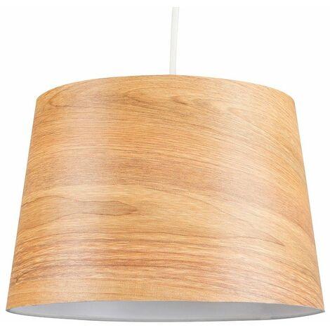 Modern Natural Wood Veneer Tapered Ceiling Pendant Light Shade 10w Led Gls Bulb 3000k Warm White