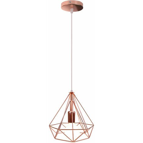 Modern Nordic Hanging Lamp Diamond Industrial Pendant Light Retro Metal Shade Vintage Ceiling Light for Bar Cafe Office Rose Gold