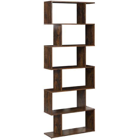 Modern Open 6 Tier Bookshelf Dark Wood Finish Freestanding Valdosa
