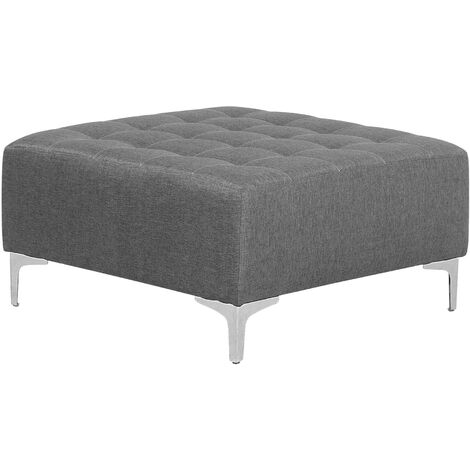 Modern Ottoman Square Footstool Grey Fabric Tufted Aberdeen