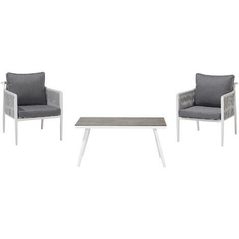 Modern Outdoor 3 Piece Garden Set 2 Armchairs and Table Grey Cushions Latina