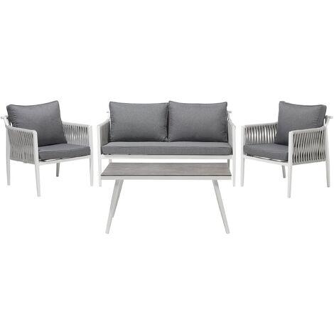 Modern Outdoor 4 Piece Garden Sofa Set Aluminium Frame Polyester Cushion Latina