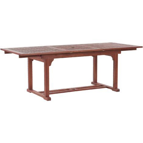 Modern Outdoor Acacia Wood Dining Table Extendable Top Dark Wood Toscana