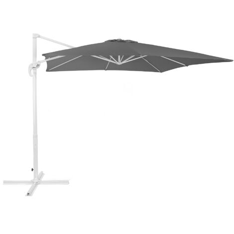 """main image of """"Modern Outdoor Cantilever Parasol Umbrella Dark Grey Polyester 360 Rotation Crank Monza"""""""