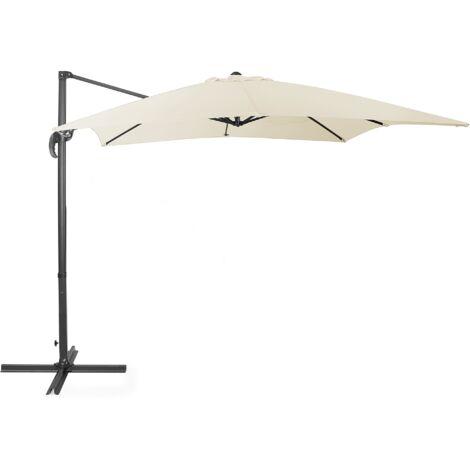 Modern Outdoor Cantilever Parasol Umbrella Light Beige Polyester 360 Rotation Crank Monza