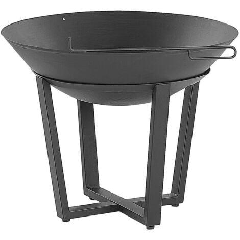 Modern Outdoor Charcoal Fire Pit Black Steel Metal Bowl Shape Round Kedung