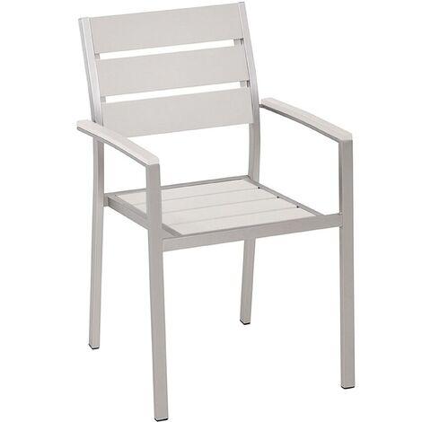 Modern Outdoor Dining Chair White Plastic Wood Aluminium Frame Vernio