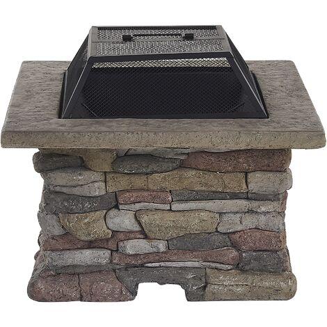 Modern Outdoor Fire Pit BBQ Heater Grey Kelud
