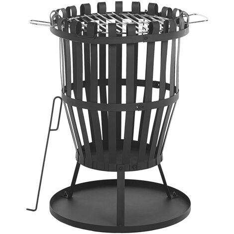 Modern Outdoor Fire Pit Openwork Steel Black with Grill Grate Wood Coal Pulo