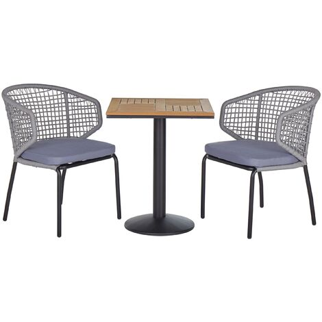 """main image of """"Modern Outdoor Garden Bistro Set Chairs Plastic Wood Square Tabletop Grey PALMI"""""""