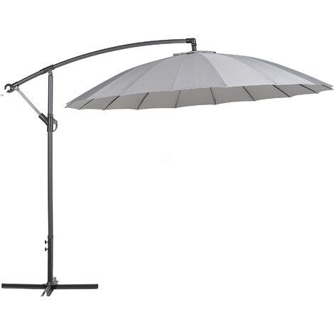 Modern Outdoor Garden Cantilever Parasol Dark Grey Polyester Canopy Calabria II