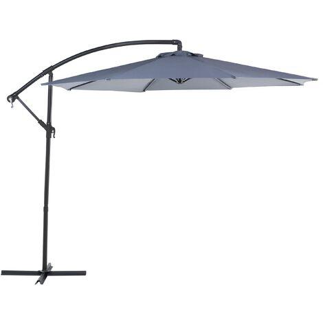 Modern Outdoor Garden Cantilever Parasol Dark Grey Polyester Canopy Ravenna