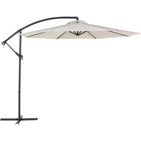 Modern Outdoor Garden Cantilever Parasol Light Beige Polyester Canopy Ravenna