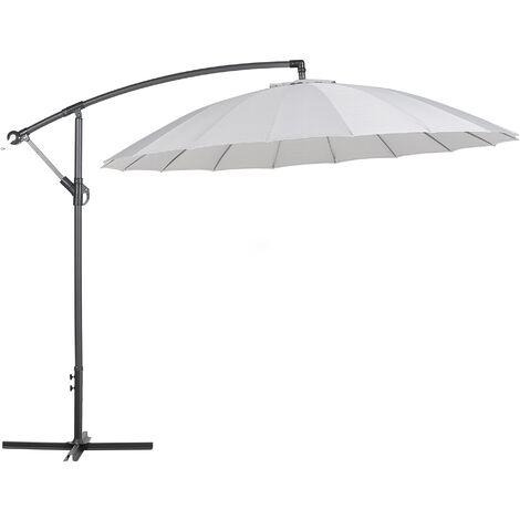 Modern Outdoor Garden Cantilever Parasol Light Grey Polyester Canopy Calabria II
