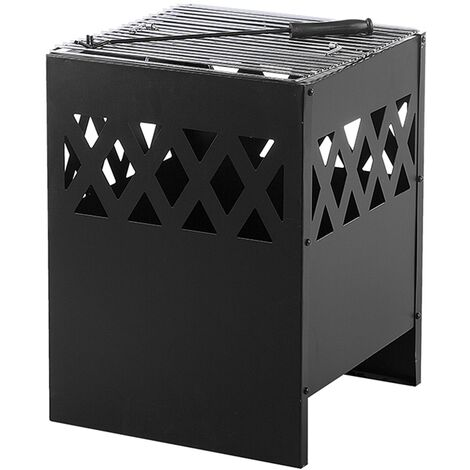 Modern Outdoor Garden Charcoal Fire Pit Black Steel Square Heater BBQ Shiga