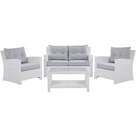 "main image of ""Modern Outdoor Garden Conversation Sofa Set White Faux Rattan San Marino"""