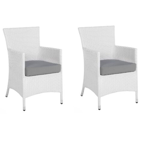 Modern Outdoor Garden Ding Chairs Set of 2 White Faux Rattan Grey Cushion Italy