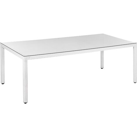 Modern Outdoor Garden Dining Table Faux Rattan White Glass Tabletop 220cm Italy