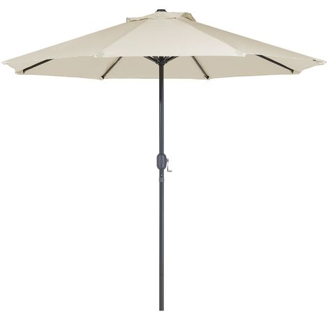Modern Outdoor Garden Market Parasol Polyester Canopy LED Lights Beige Rapallo