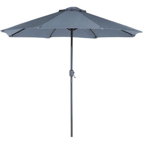 "main image of ""Modern Outdoor Garden Market Parasol Polyester Canopy LED Lights Dark Grey Rapallo"""