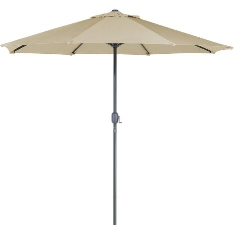Modern Outdoor Garden Market Parasol Polyester Canopy LED Lights Taupe Rapallo