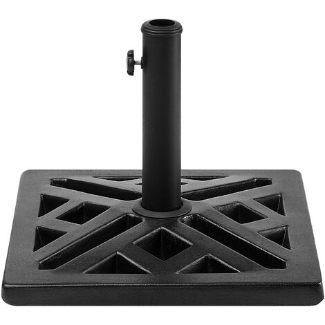 Modern Outdoor Garden Parasol Base Square Black Concrete 3 Pole Adapters Chieti