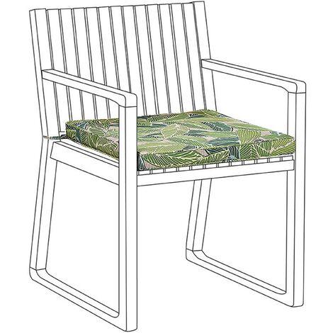 Modern Outdoor Garden Patio Chair Seating Cushion Leaf Pattern Green Sassari