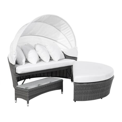 """main image of """"Modern Outdoor Garden Rattan Day Bed Grey Frame White Canopy with Table Sylt Lux"""""""