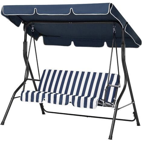 Modern Outdoor Garden Swing 3 Seater Blue White Cushion Canopy Chaplin