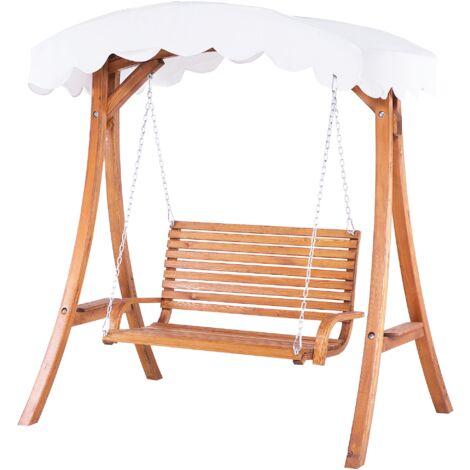 Modern Outdoor Garden Swing Larch Wood Beige Canopy Tray Freestanding Andria