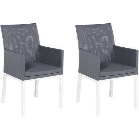 Modern Outdoor Garden Synthetic Dining Chair 2pc Set Grey Aluminium Frame Bacoli