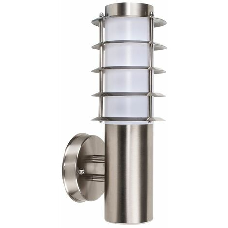 Modern Outdoor Garden Wall Lamp Stainless Steel Patio Lantern Light - Silver