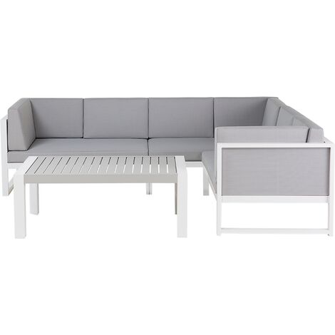 Modern Outdoor Lounge Set with Coffee Table White Aluminum Castella