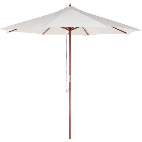Modern Outdoor Parasol Polyester Canopy Wooden Pole String Mechanism Beige Toscana